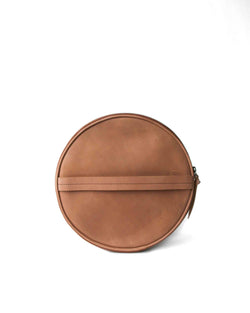 fred leather round leather tan clutch with strap