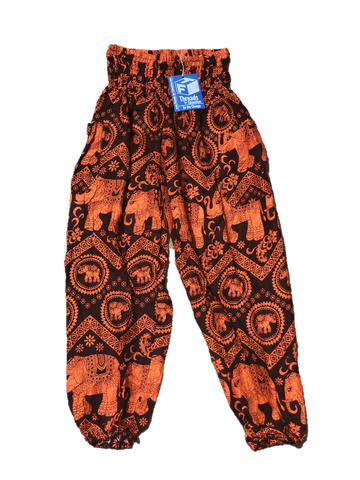 Orange High Waisted Elephant Pants