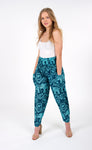 Teal High Waisted Elephant Pants