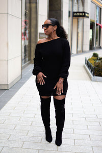 The Perfect Oversized off the Shoulder Sweater Dress