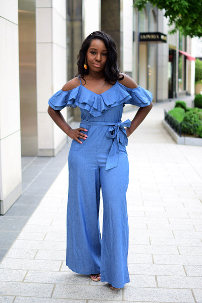 MARCIE COLD SHOULDER RUFFLE DENIM JUMPER