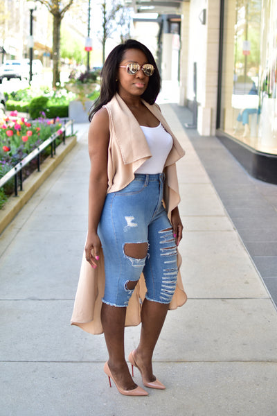 Jessica Distressed Denim Bermuda Shorts