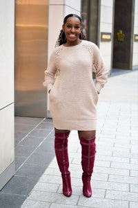 """Gia"" Blush Sweater Dress with Pockets"