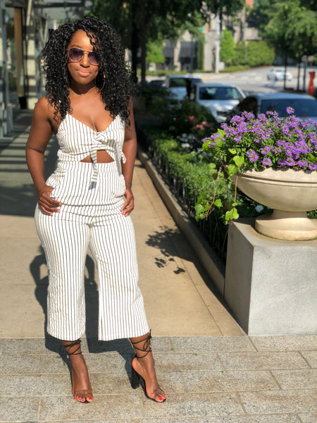 Niecy black/white Striped Jumpsuit
