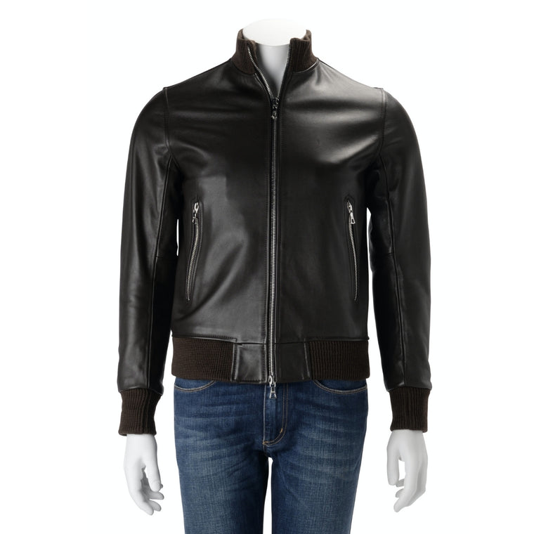 Officine Generale Dark Brown Leather Bomber Jacket XS