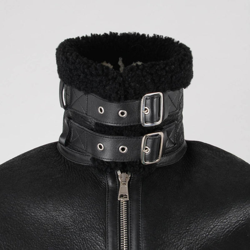 Balenciaga Black Shearling Oversized Le Bombardier Jacket FR 46 - Blue Spinach