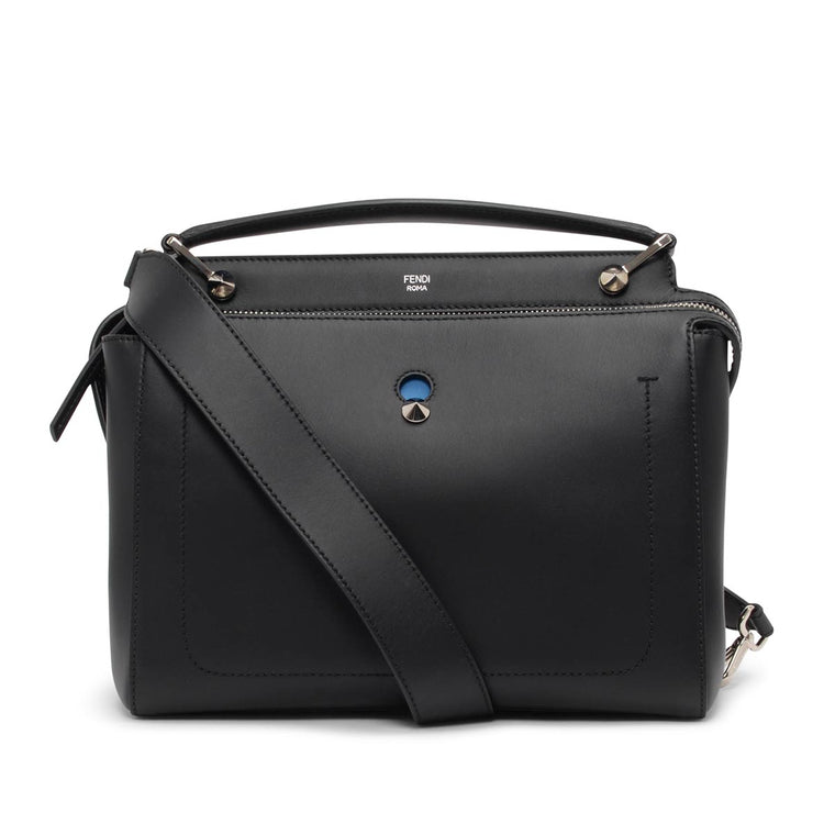 Fendi Black + Royal Blue Calfskin Dotcom Bag