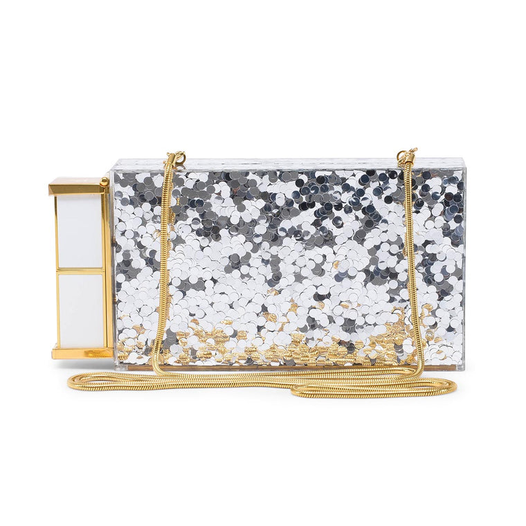 Tom Ford Silver Plexiglass Minaudiere Clutch