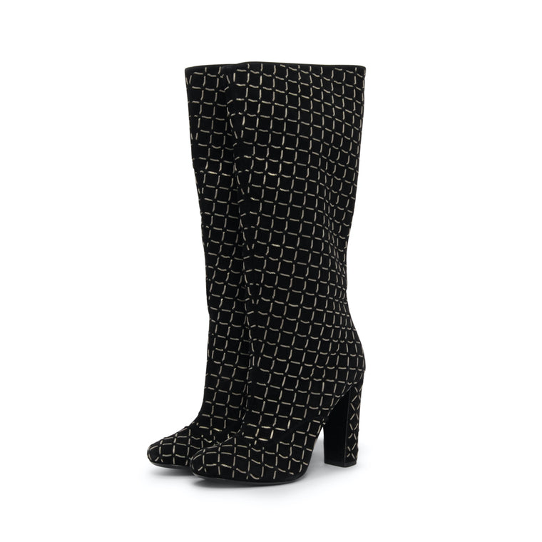 Chanel Black Suede Chain Quilted Boots 39