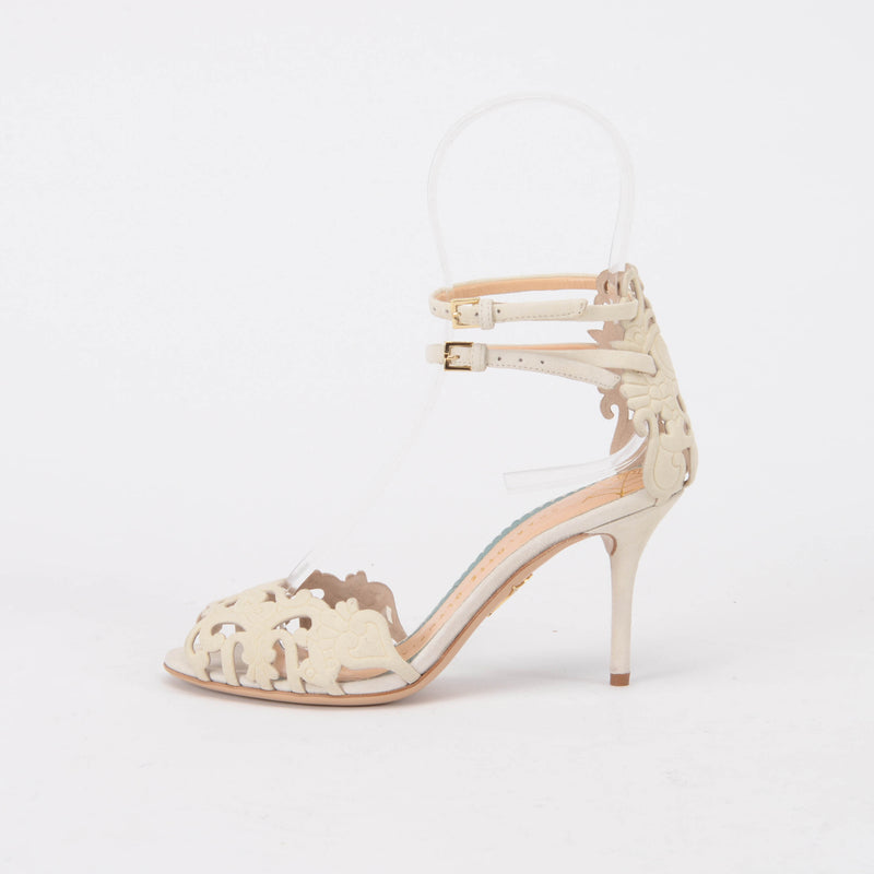 Charlotte Olympia Ivory Suede Margherita Sandals 35 - Blue Spinach