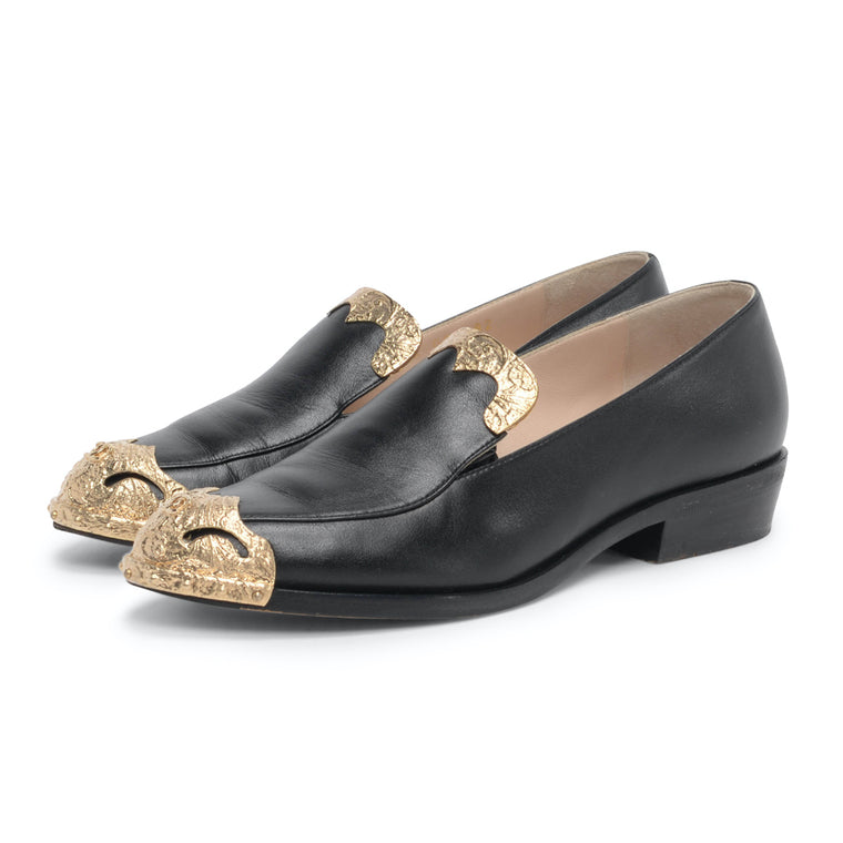 Chanel Black & Gold Paris to Dallas Loafers 36