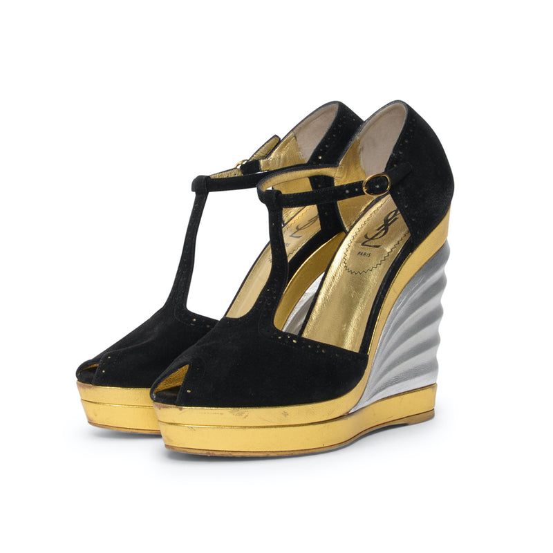 Yves Saint Laurent Black Suede & Metallic Robyn T-Strap Wedges 38 - Blue Spinach