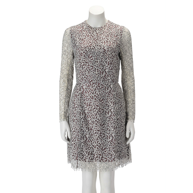 Carven Burgundy & White Corneli Lace Long Sleeve Dress