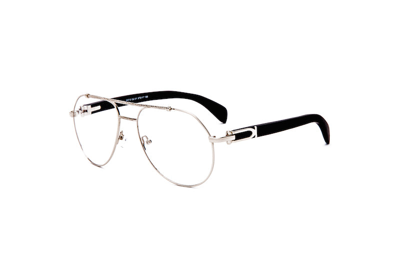 Vintage Wood Collection Silver Aviator Clear Lens Black Wood Eyeglasses - VWC Eyewear