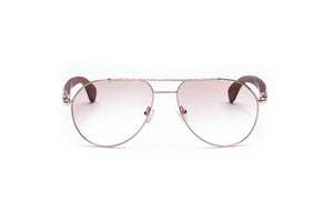 Vintage Wood Collection Gold Aviator Gradient Light Brown AR Lens Brown Wood Sunglasses - VWC Eyewear