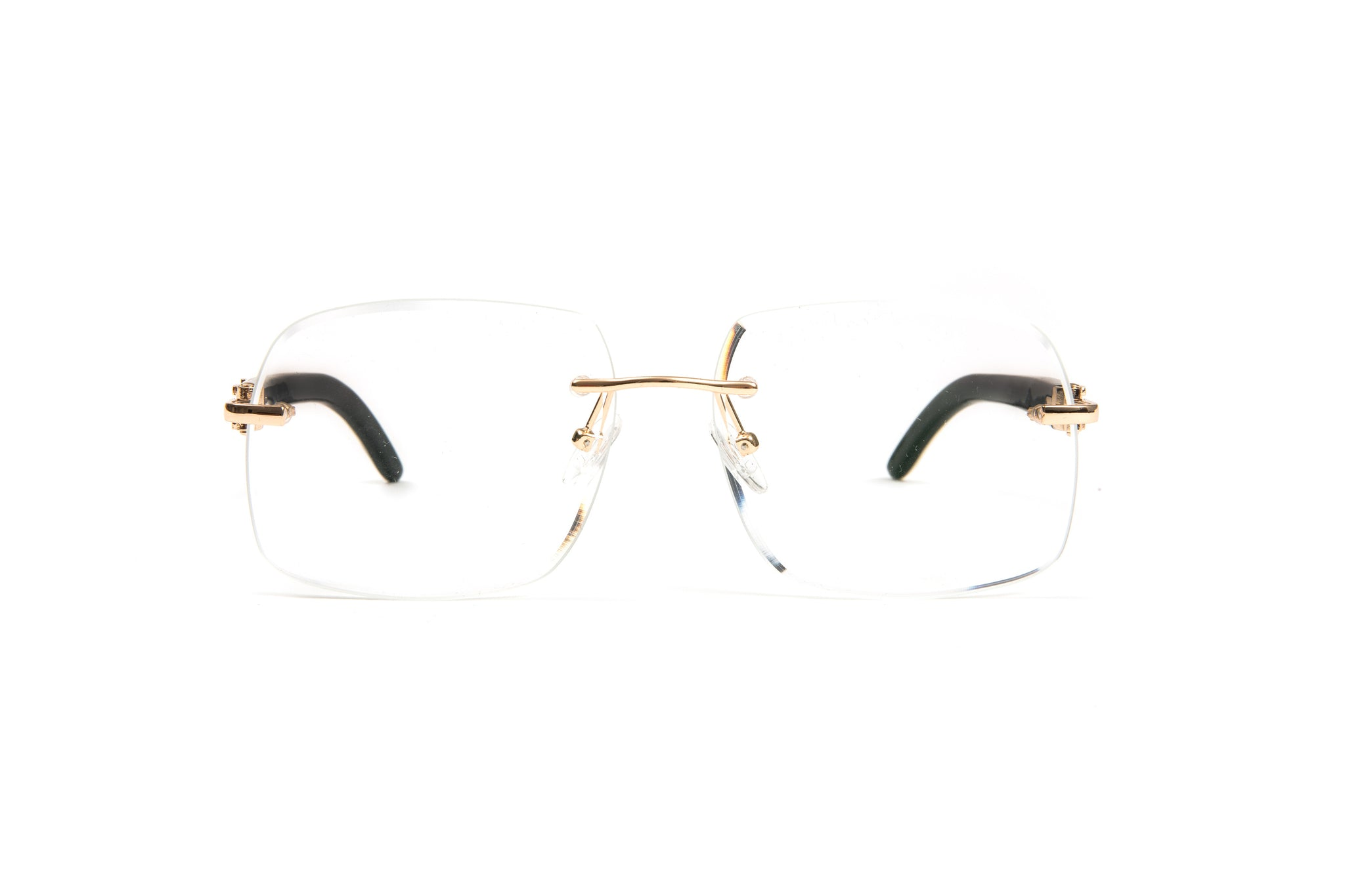 White Buffalo Horn Glasses, 18kt Gold Frame, Clear Demo Lenses, Square