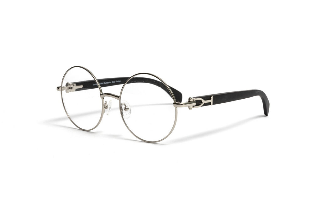 Silver and Black Wood Eyeglasses, Round Frame