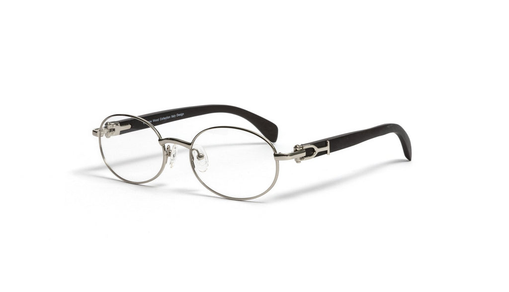 Silver and Black Wood Oval Eyeglasses Frame