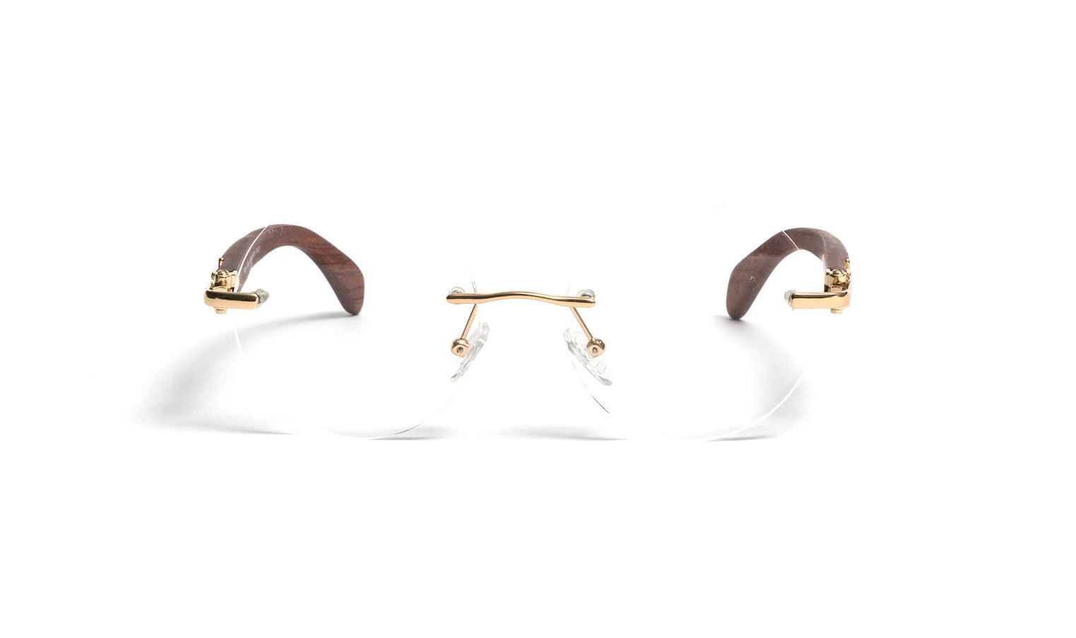 Vintage Wood Collection, Round Rimless Glasses Gold Frame Brown Wood Temples, Clear Lens