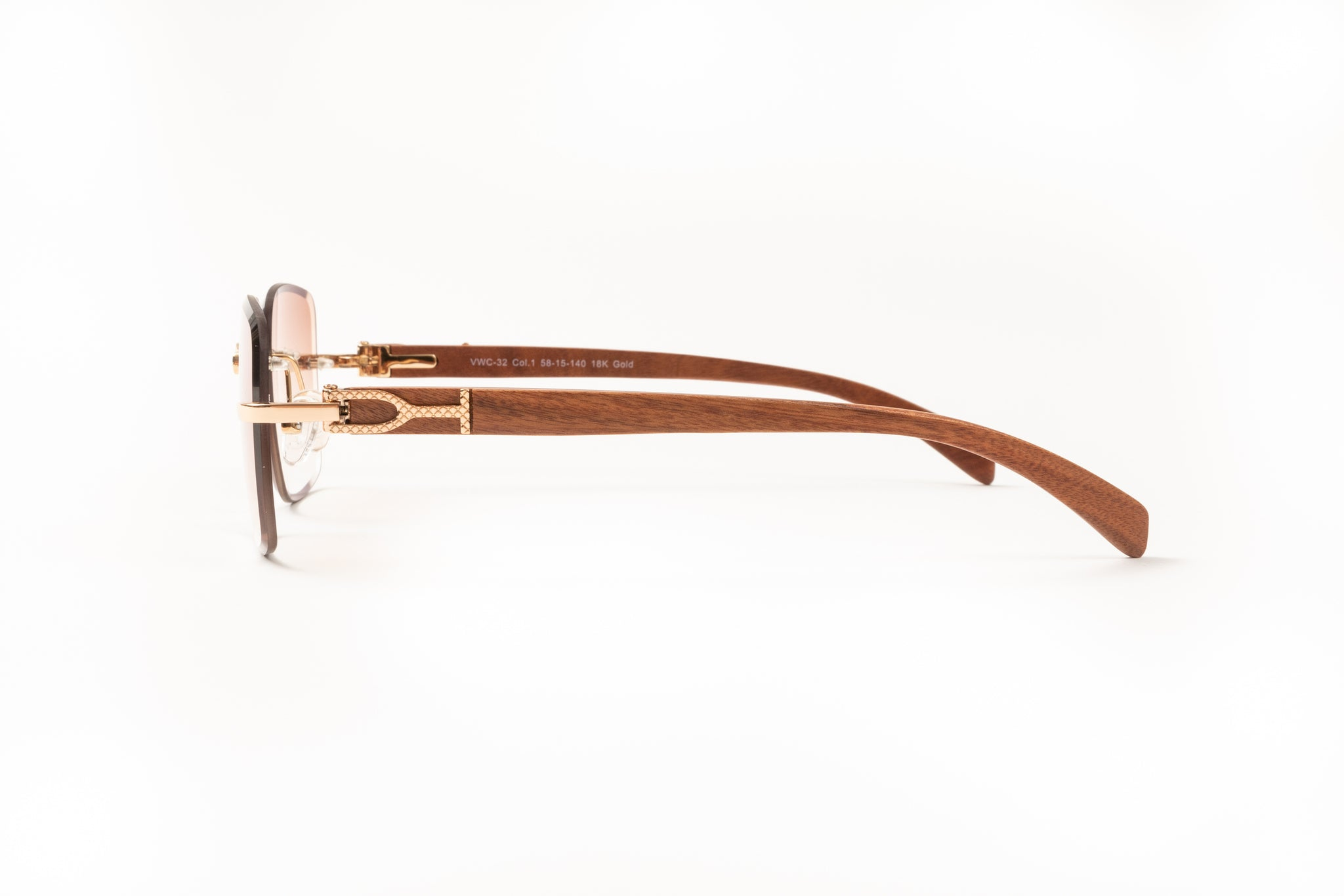 Rimless Drill Mount Frames, 18kt Gold and Brown Mesh Wood, Gradient Brown Anti Reflective Bevel Lenses
