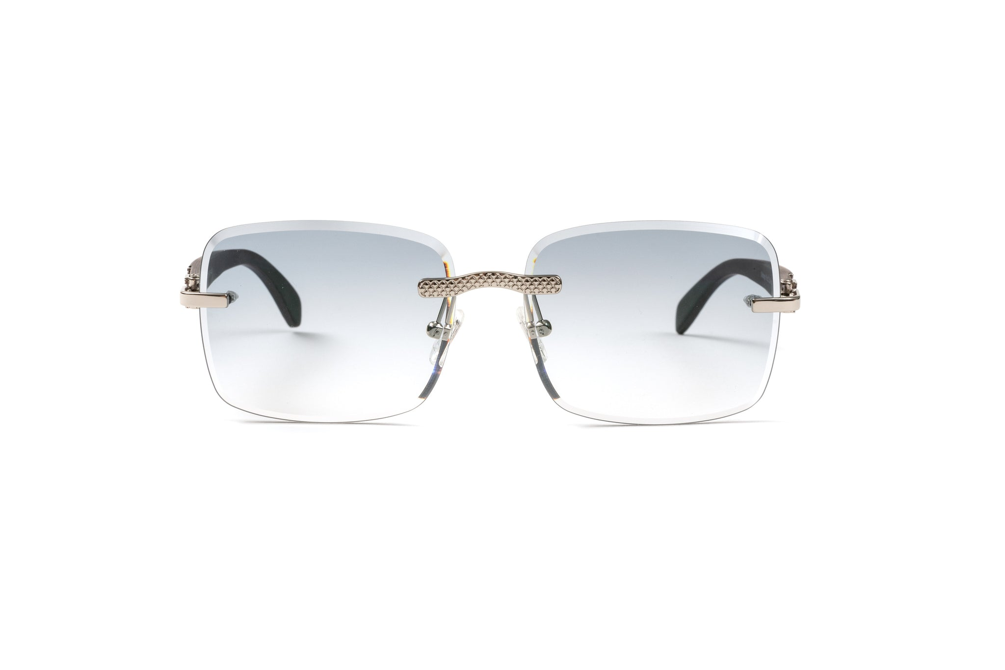 Rimless Drill Mount Mesh Frames, 18kt White Gold and Black Wood, Gradient Grey Anti Reflective Bevel Lenses