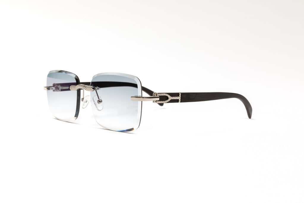 Cartier style Black and platinum wood sunglasses