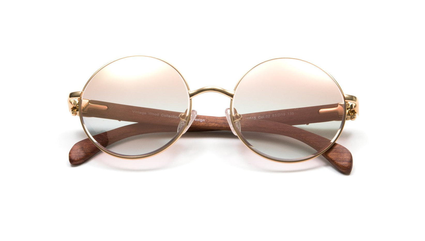 Round Gold Full Rim Frame, Brown Wood Temples, Gradient Brown White Gold Flash Lens