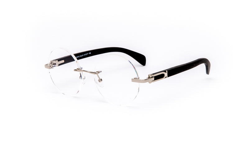 Vintage Wood Collection Rimless Silver Round Frame Clear Lens Black Wood Eyeglasses - VWC Eyewear