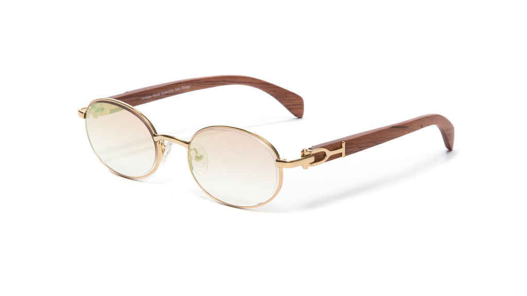 Oval Gold Full Rim Frame, Brown Wood Temples, Gradient Brown White Gold Flash Lens
