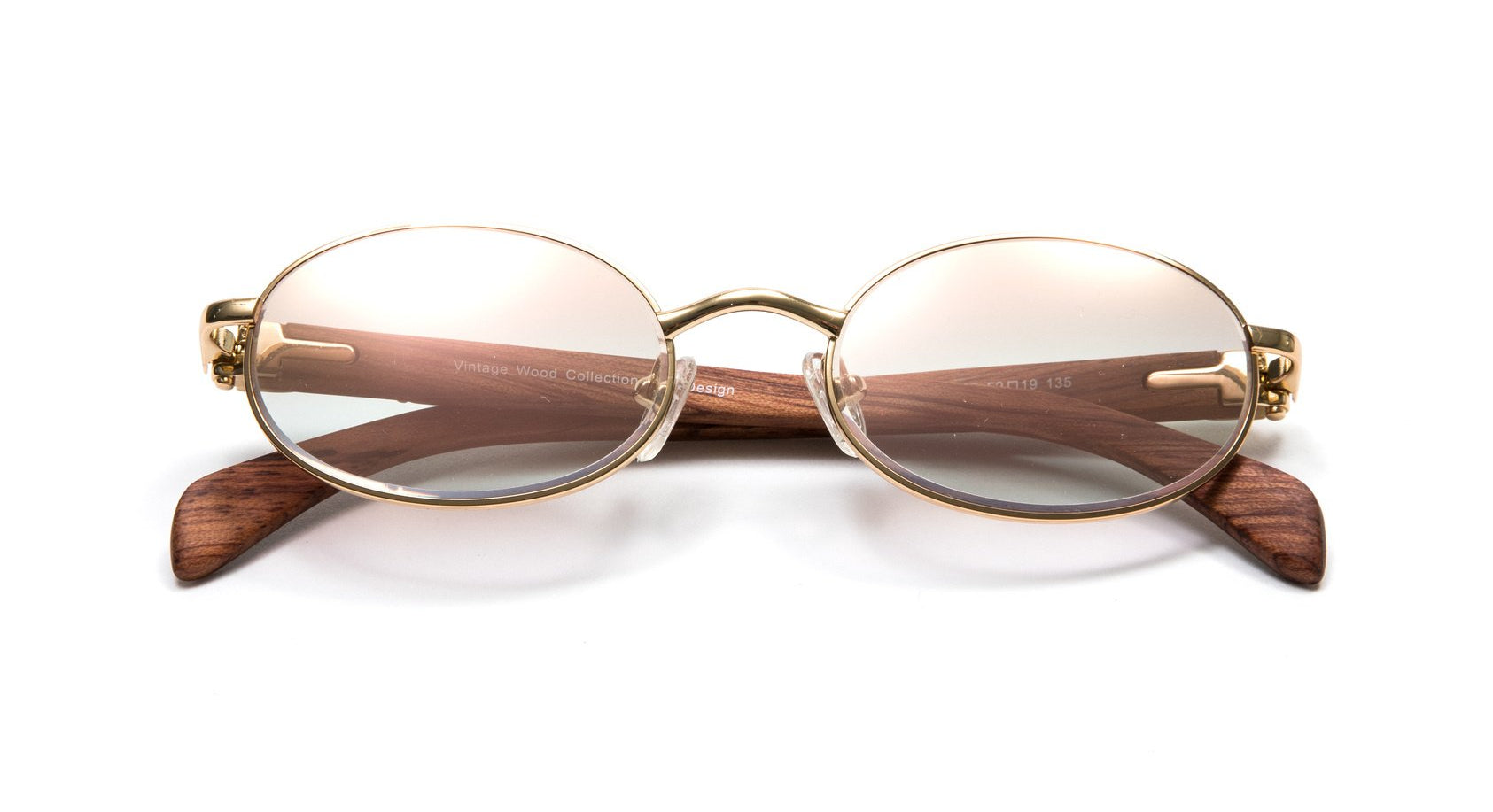 Vintage Wood Collection Full Rim Oval Gold and Brown Wood Sunglasses, Gradient Brown White Gold Flash Lenses, as seen on YOUNG MA