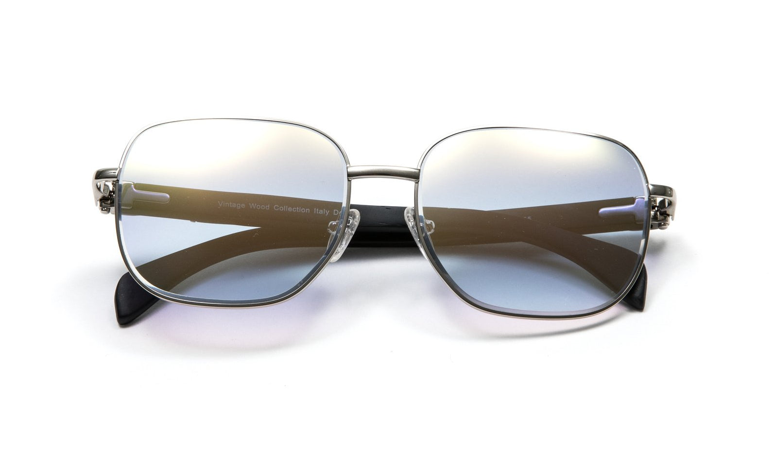Square Silver Full Rim Frame, Black Wood Temples, Gradient Gray White Gold Flash Lens