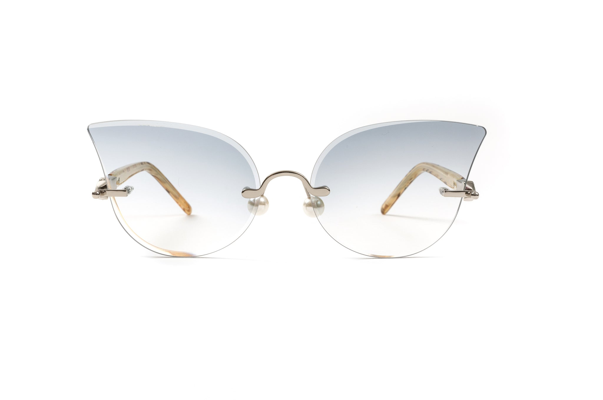 Cateye Silver Pearl Collection Sunglasses, Tortoise Acetate