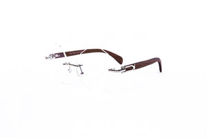 Vintage Wood Collection Rimless Gold Round Faceted Frame Clear Lens Brown Wood Eyeglasses - VWC Eyewear