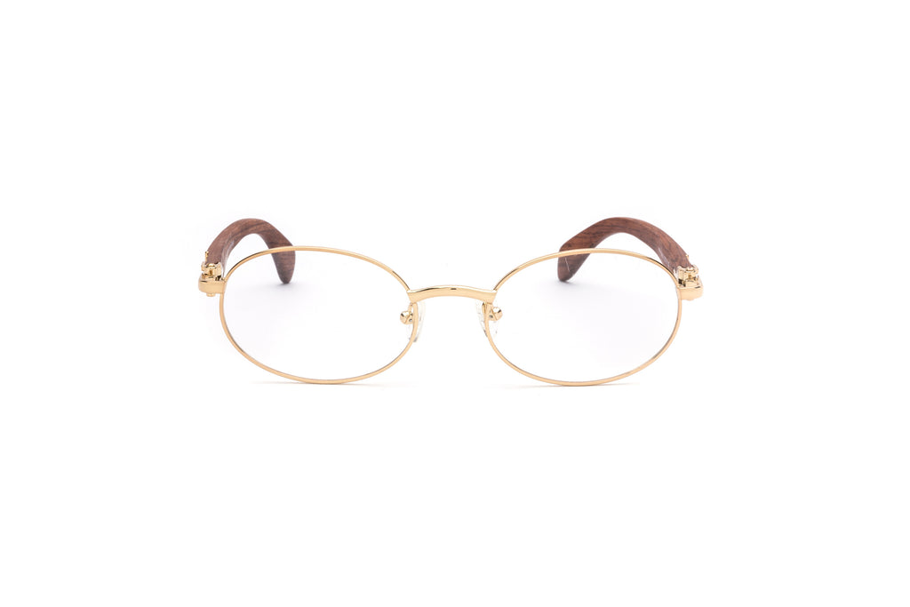 649f4282b612 ... Gold wood cartier style glasses oval frames vintage ...