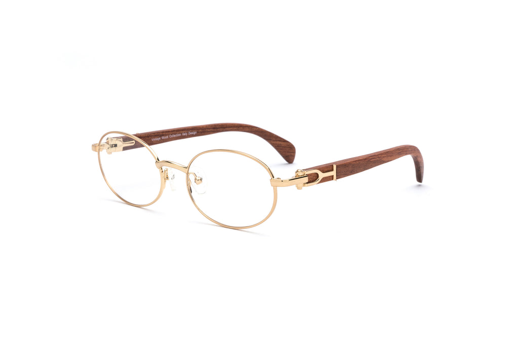 1fa644e2c8f Gold wood cartier style glasses oval frames vintage ...