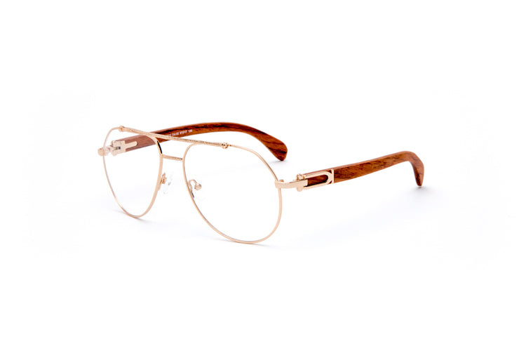 Vintage Wood Collection Gold Aviator Clear Lens Brown Wood Eyeglasses - VWC Eyewear