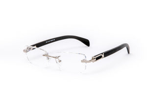 Vintage Wood Collection Rimless Silver Rectangular Frame Clear Lens Black Wood Eyeglasses - VWC Eyewear