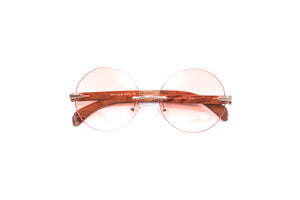 Vintage Wood Collection Rimless Gold Frame Faceted Gradient Orange Lens Brown Wood Sunglasses - VWC Eyewear