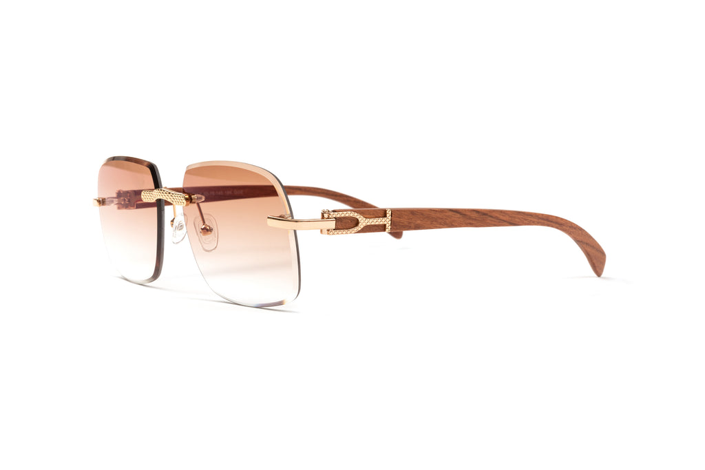 Cartier style wood and gold sunglasses frame with gradient brown lenses