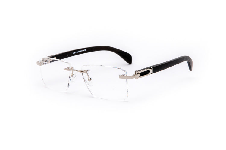 Vintage Wood Collection Rimless Silver Square Frame Clear Lens Black Wood Eyeglasses - VWC Eyewear