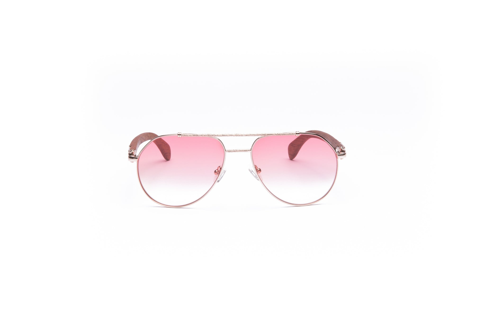Vintage Wood Collection Gold Aviator Gradient Light Pink Lens Brown Wood Sunglasses