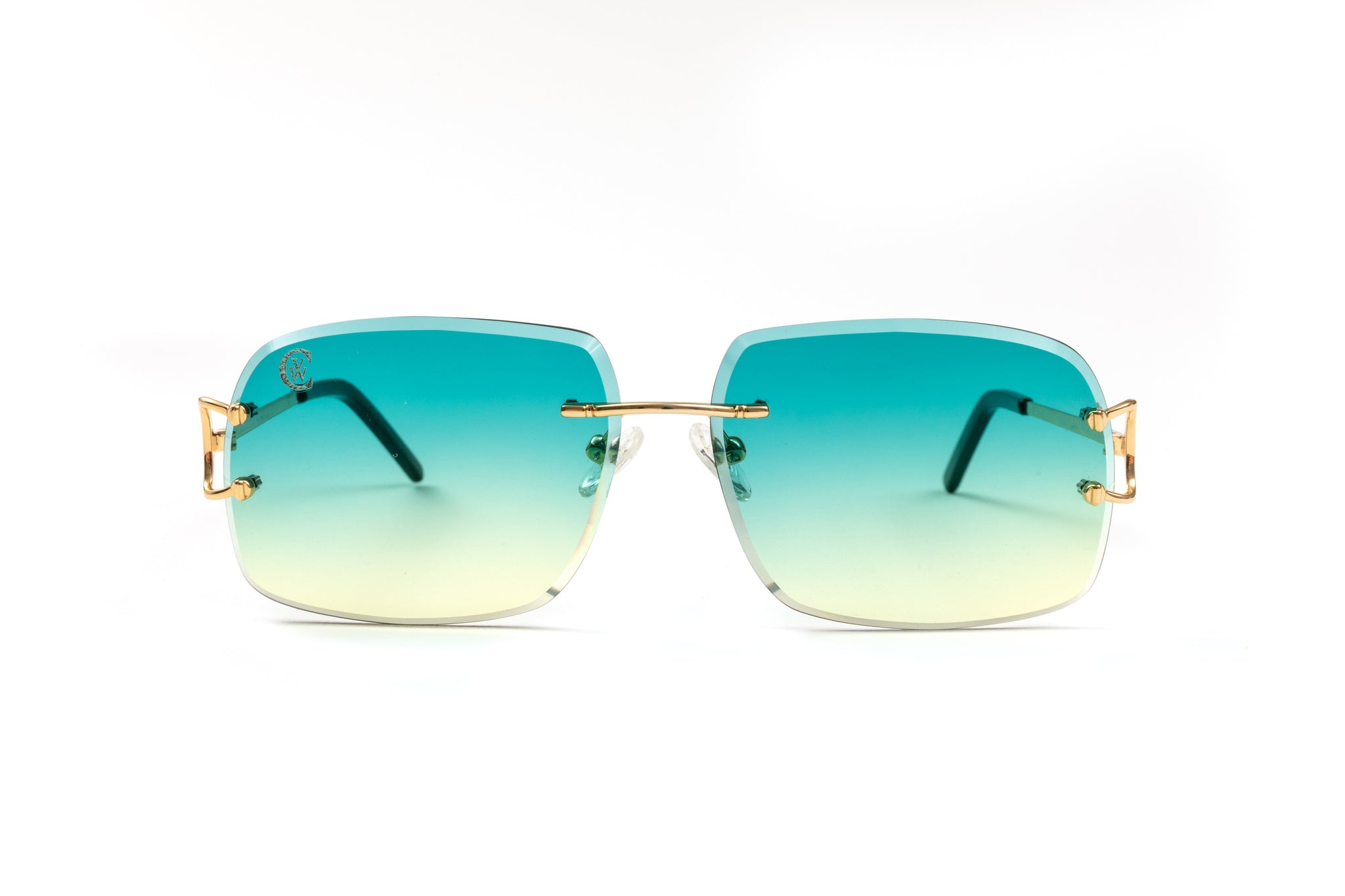 front view of Classic C by VWC glasses with gradient green and yellow lenses