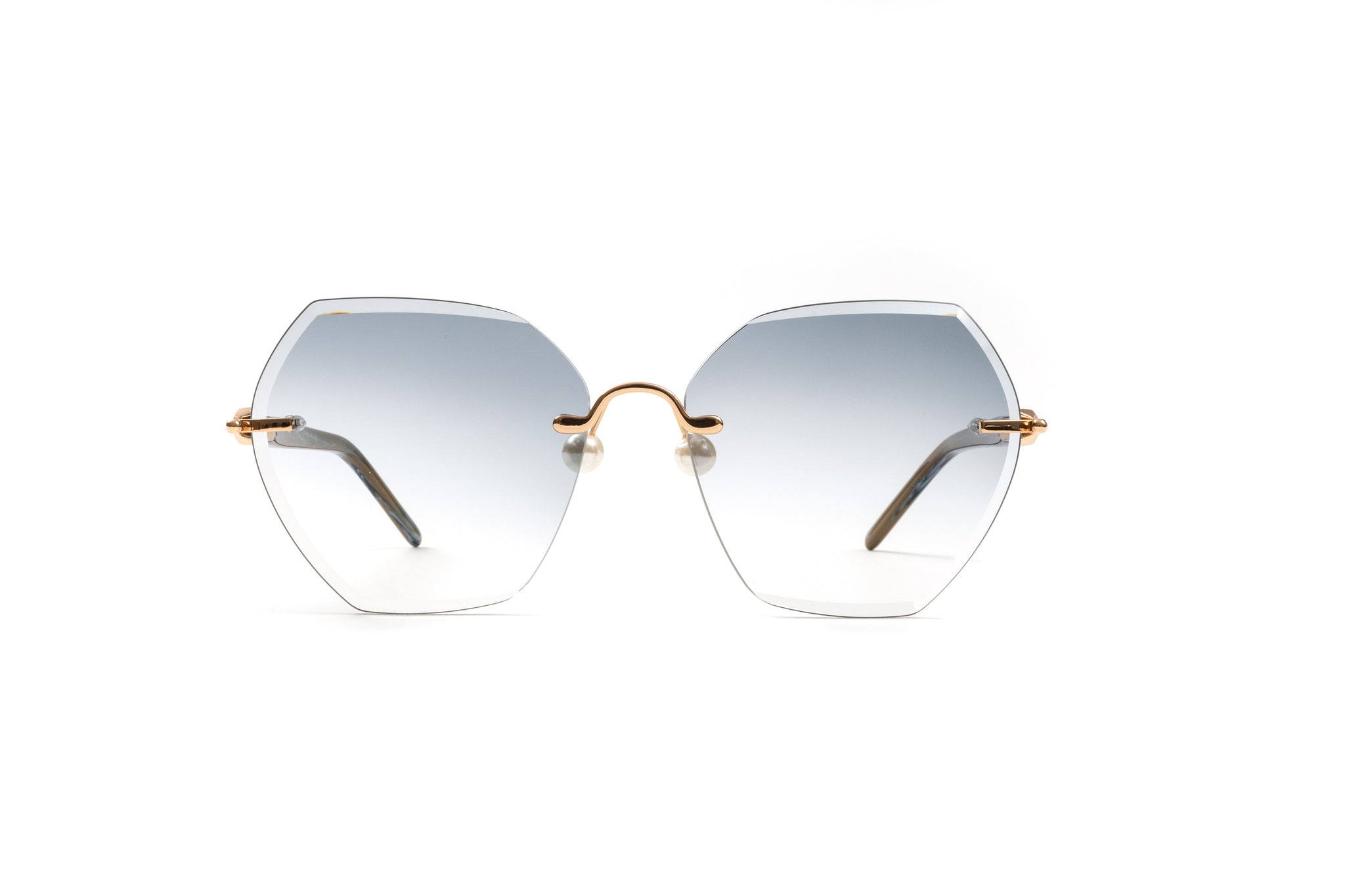 Hexagon 18kt Gold Pearl Collection Sunglasses, Brown and Blue Acetate