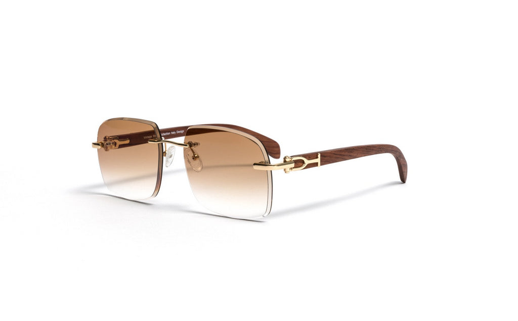 Gold and Wood Sunglasses, Gradient Brown Anti Reflective Bevel Lenses, Rimless Frame