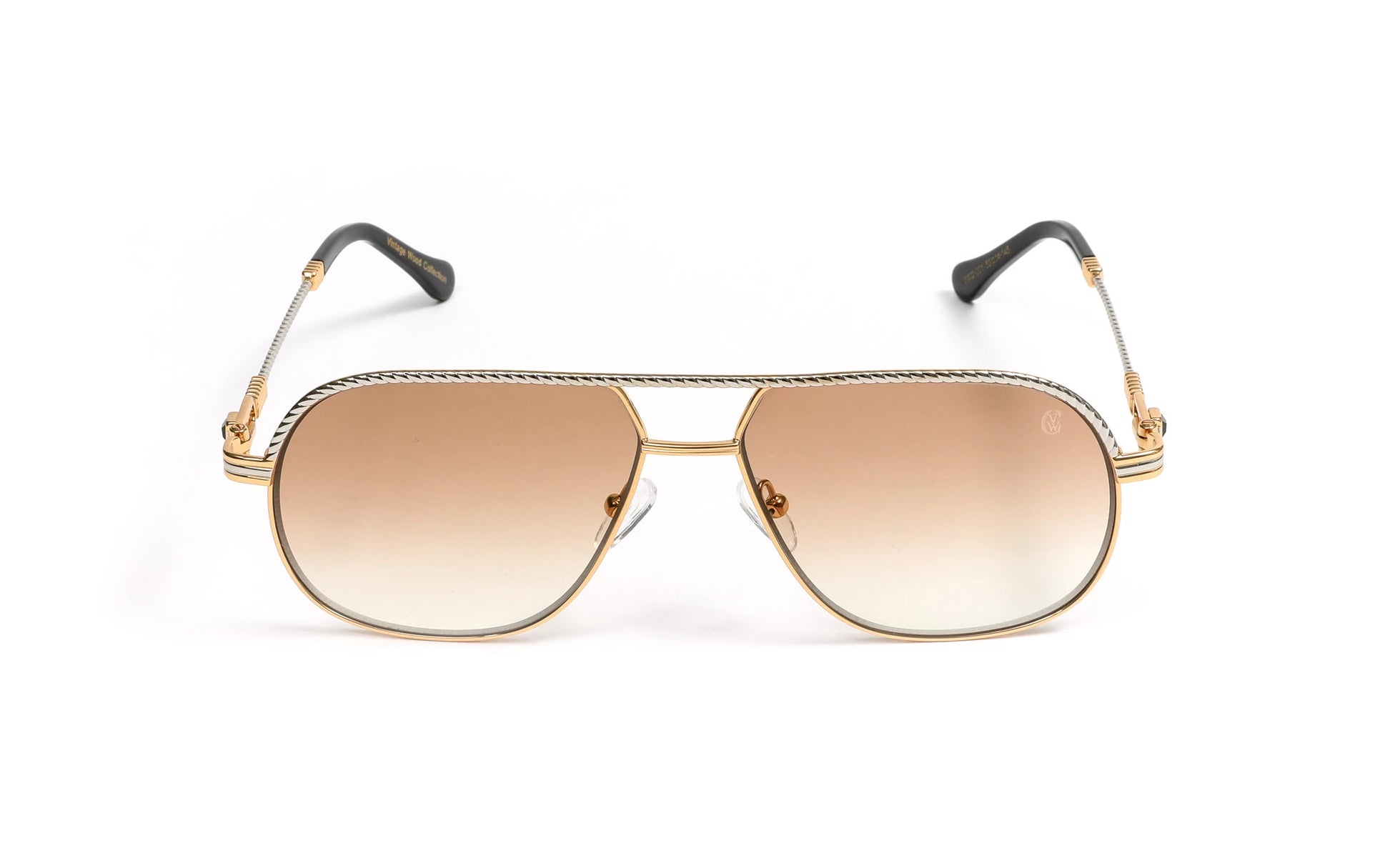 Silver and 18k Gold Plated Aviator Sunglasses, Gradient Brown Anti Reflective Lenses