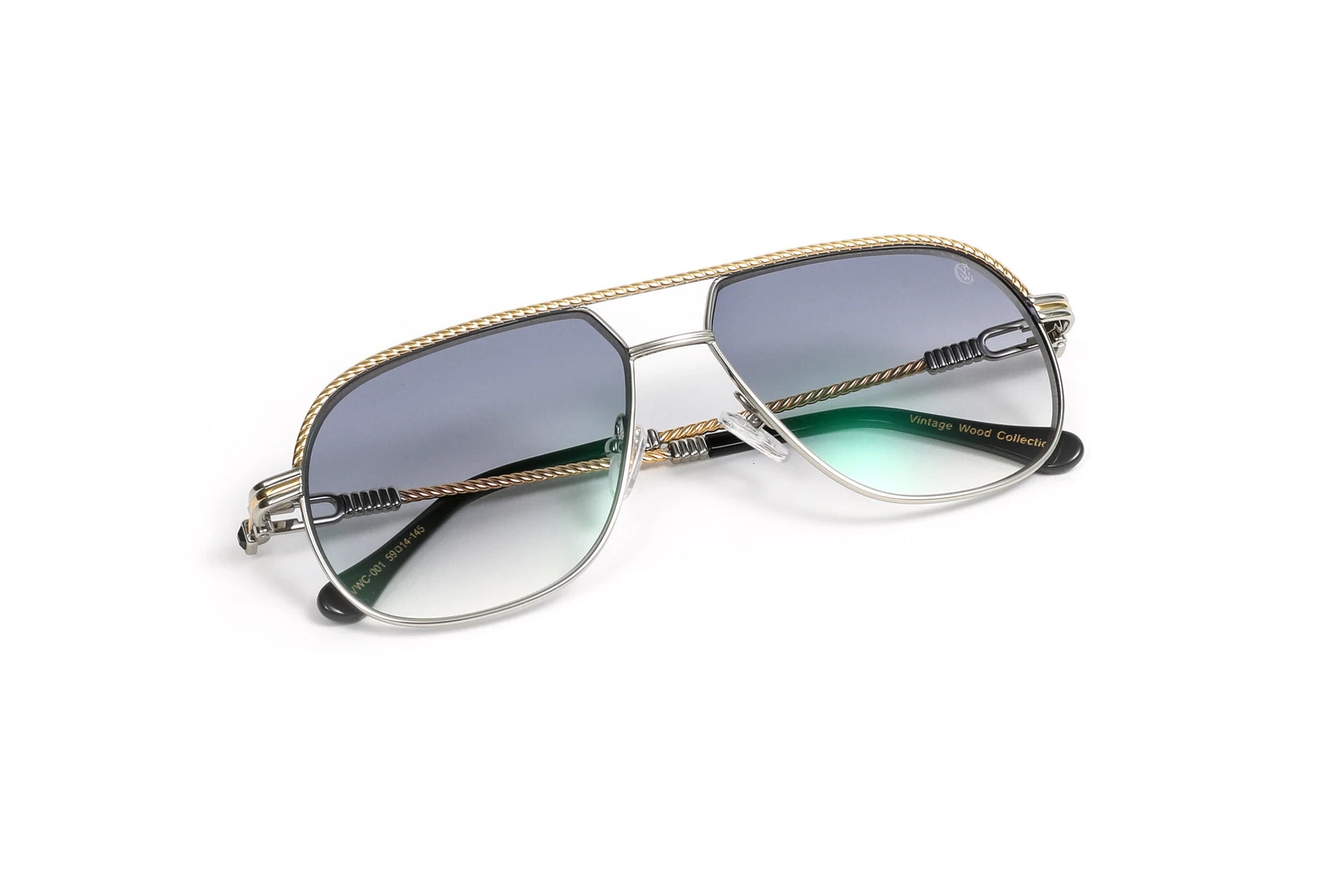 Gold 18k Plated and Silver Aviator Sunglasses, Gradient Grey Anti Reflective Lenses