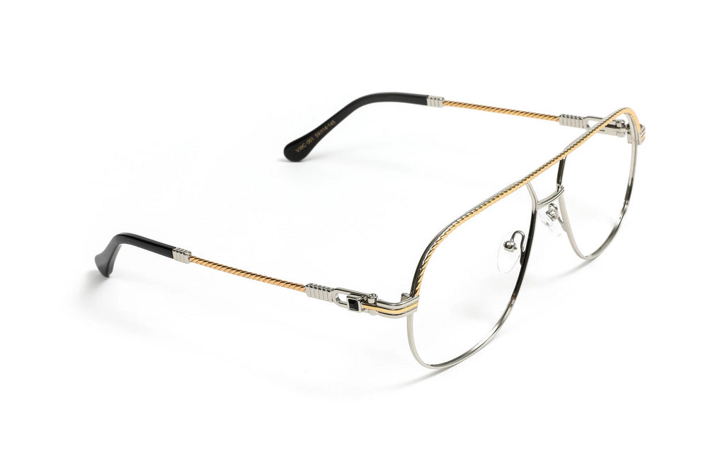 Gold 18k Plated and Silver Aviator Eyeglasses, Clear Demo Lenses
