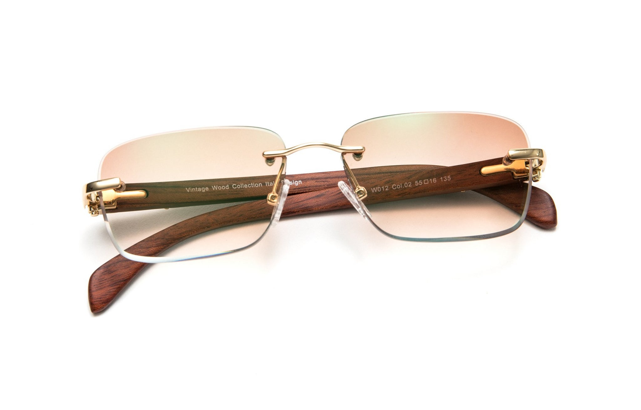 Gold and Wood Sunglasses, Gradient Brown Anti Reflective Bevel Lenses, Rectangular Rimless Frame