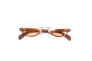Vintage Wood Collection Rimless Gold Oval Frame Orange Bevel Edge Lens Brown Wood Sunglasses - VWC Eyewear