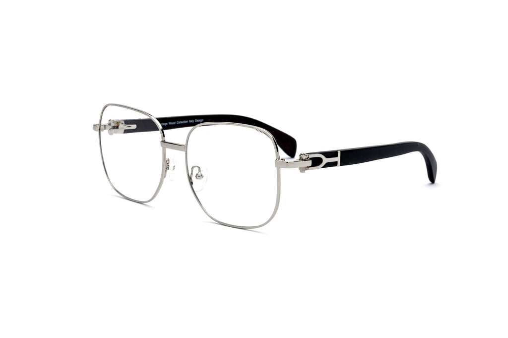 black wood eyeglasses frame silver cartier style glasses